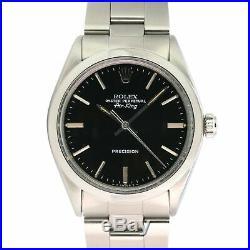 Rolex Mens Watch Oyster Perpetual Air-King 34mm Steel Original Black Dial