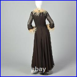S 1970s Brown Wide Leg Jumpsuit Feather Trimmed Palazzo Pants Legs Disco 70s VTG