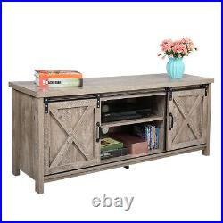 Sliding Barn 58 TV Stand Unit Console Table Cabinet Entertainment Center Gray