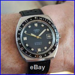 Stunning Ink-Blue dial 1970s ORIS Star Automatic Divers Watch + original box