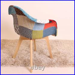 Tulip Patchwork TUB Fabric Armchair Dining Lounge Chair Seat Vintage Retro Home