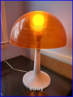 VINTAGE 70s Gilbert Softlite Mid Century Modern Mushroom Table Lamp Orange shade