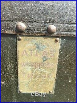 VINTAGE Antique WARDROBE Steamer Trunk withDrawers HANGERS ATLAS TRUNK