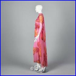 VTG 1960s 60s Sands Las Vegas Silk Chiffon Jumpsuit Cape Train Psychedelic Pink