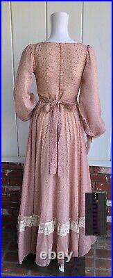 VTG 70s Gunne Sax Hippie Boho Dusty Pink Calico Lace Up Corset Prairie Dress 7