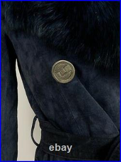VTG 70s ROYAL BLUE SUEDE LEATHER PENNY LANE FUR COLLAR PRINCESS COAT 10 12