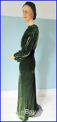 VTG Art Deco 1930s Moss Green SILK VELVET Bias-Cut Old Hollywood GOWN Dress Sm M