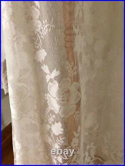VTG Cream Lace BoHo Sheer CUT OUT Crochet Bell Sleeve Hippie Wedding Maxi DRESS