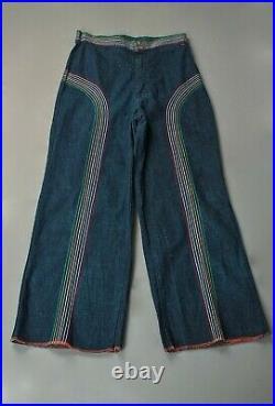 VTG Women's 70s Rainbow Stitch Lee Bellbottoms Sz 30 1970s Jeans Bell Bottoms