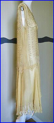 Vintage 1920s Dress Beaded Silk Chiffon