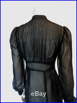 Vintage 1930s Dress Sheer Black Silk Chiffon Dress With Pin Tucked Bodice