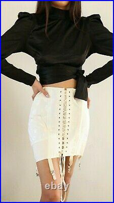 Vintage 1940s laced up corset girdle skirt in size 28 DEAD STOCK! CREAM COLOR