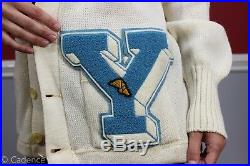 Vintage 1950's Sand Knit Wool Letter Sweater Y Yale Track & Field. Nice. RARE