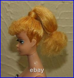 Vintage 1960's BARBIE Blonde PONYTAIL #5 Doll with Swimsuit