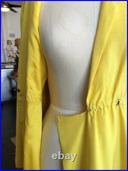 Vintage 1970s Halston Yellow Silk Wrap Dress Mint Condition