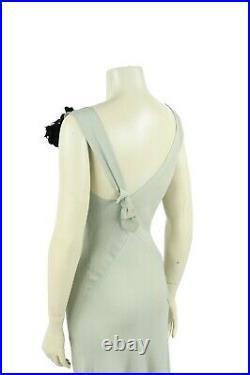 Vintage 30s Pale Seafoam Green Crepe Asymmetrical Cut Long Art Deco Party Dress