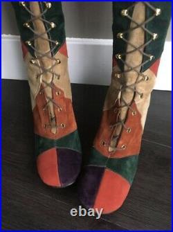 Vintage 60s Gogo Boots Penny Lane Boots Multi Color Patchwork Lace Up 70s Boho