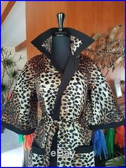 Vintage 60s Lilli Ann Leopard Print Trench Coat S M