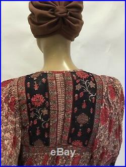 Vintage 70s BOHO Hippie ETHNIC Floral Paisley INDIAN Cotton PRAIRIE Folk DRESS