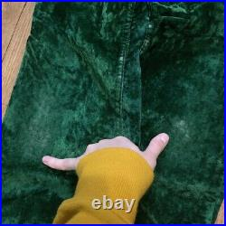 Vintage 70s Forest Green Velvet Flare Bell Bottom Pants by Wrangle Size S