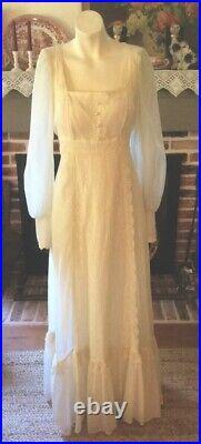 Vintage 70s GUNNE SAX Maxi Dress Cream Lace Prairie Pearl Button Wedding Sz 11