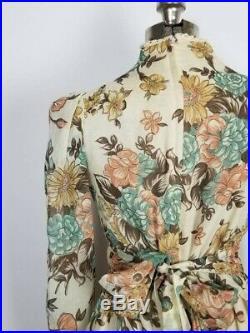 Vintage 70s Gunne Sax Boho Prairie Maxi Dress Floral Print Size 11