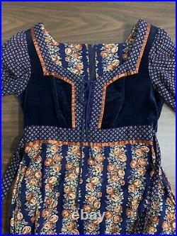 Vintage 70s Gunne Sax Boho Prairie corset Dress Floral Print Size 9 Velvet
