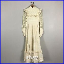 Vintage 70s Gunne Sax Cream Peasant Boho Maxi Dress Renaissance Prairie XS S