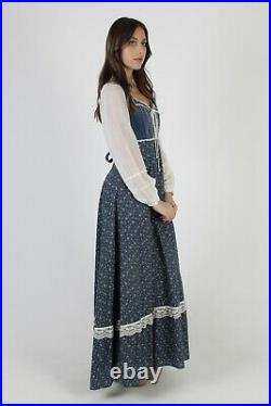 Vintage 70s Gunne Sax Dress Blue Calico Floral Velvet Lace Corset Prairie Maxi