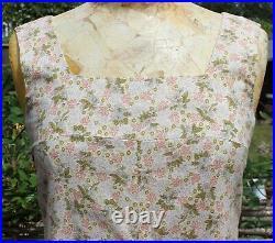 Vintage 70s Handmade Ditsy Floral Prairie Long Pinafore Maxi Dress Small UK 8