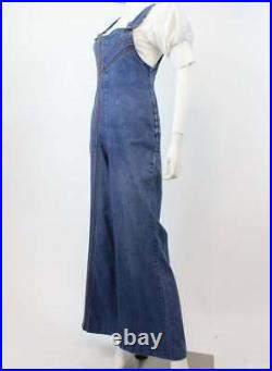 Vintage 70s Rainbow Stitched Denim Overalls Jumpsuit Jeans Bellbottom Dungaree