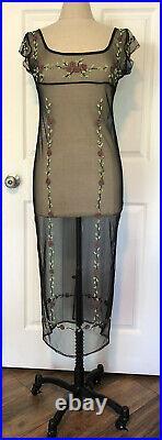 Vintage 90s Black Mesh Beaded Slip Dress Roses Goth Boho Edwardian Bridgerton Lk