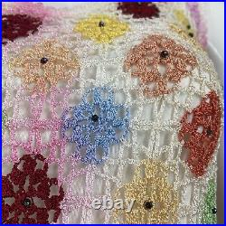 Vintage 90s Pastel Crochet Knitted Tank Top Iridescent Beading Boho Grunge Egirl
