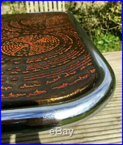 Vintage Abstract Psychedelic Chrome Teak Retro Mid 20th Century Coffee Table 70s