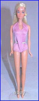 Vintage Barbie MALIBU PJ Cello on Head in Original Bathing Suit