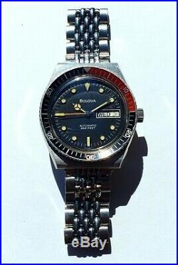 Vintage Bulova Snorkel 666FT Automatic Devil Diver Original Bracelet Day-Date