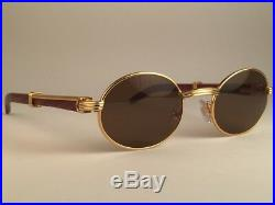 Vintage Cartier Giverny Gold & Wood 49/20 Small Brown Lenses France Sunglasses
