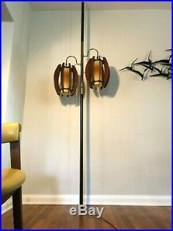Vintage DANISH MODERN 3-Way TENSION POLE LIGHT Floor Lamp MID-CENTURY Teak MCM
