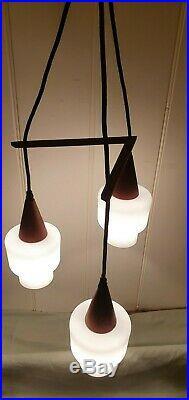 Vintage Danish Mid-Century Pendant Light Teak Frosted Opaline Glass, Chandelier