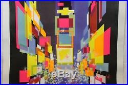 Vintage David Klein TWA New York Times Square Poster 1960's, Original