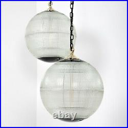 Vintage French Antique Parisian Prismatic Holophane Globe Pendant Ceiling Lights