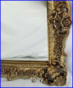 Vintage French Italian Mantle Mirror Rococo Gold Wall Hollywood Regency
