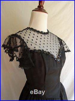 Vintage Gunne Sax Jessica McClintock Black Victorian Lace Sequins Hostess Dress