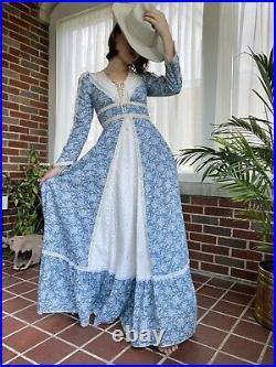 Vintage Gunne Sax Prairie Maxi Dress/ Gown Blue White Lace Cottagecore