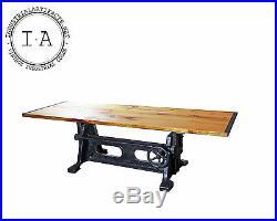Vintage Industrial Original Machine Crank Base Kitchen Dining Conference Table