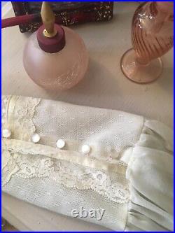 Vintage Ivory Lace Maxi Dress Boho Victorian Wedding Dress Prairie size S/M