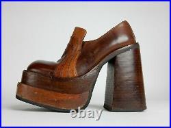 Vintage Leather DISCO party Platform Shoes SONAX sz37