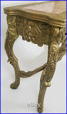 Vintage Louis XVI French Carved Wood Console Hall Table With Marble Top 48 Long