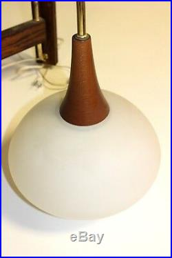 Vintage MID Century Danish Modern Glass & Teak Wall Sconce Lamp