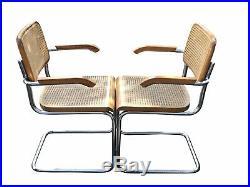 Vintage MID Century Modern Breuer Cesca Tubular Steel & Cane Dining Room Set